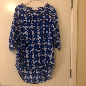 Royal blue and white patterned dress